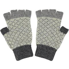 Catherine Tough Women's Lambswool Gloves (Fingerless) - Grey and Sage
