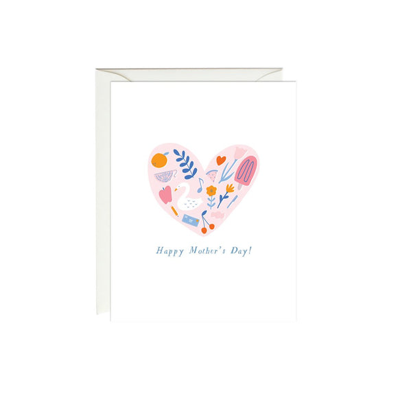 Paula & Waffle Card - Pink Heart Mother's Day
