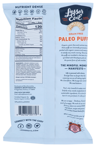 LesserEvil No Cheese Cheesinesss Paleo Puffs