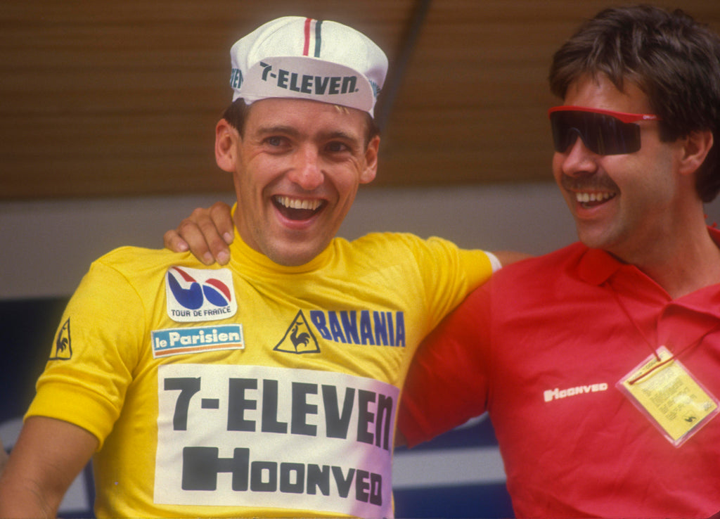 Alex Stieda in the Yellow Jersey. 1986 Tour De France