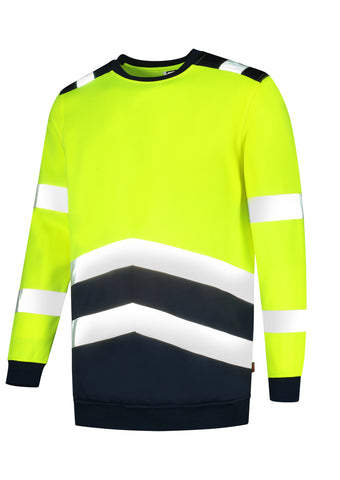 Sweater High Vis Bicolor Sweatshirt fluoreszierendes gelb