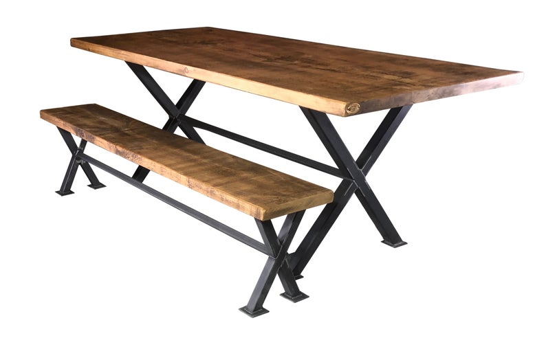 Industrial Reclaimed Plank Top Dining Table 'X-Frame' Steel Base