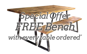 'Tri  Base' Dining Table and FREE Bench