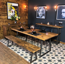 Load image into Gallery viewer, 'Tri Base' Vintage Plank Top Dining Table with Triangle Steel Base