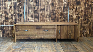 Reclaimed Rustic 'Plank' Style Media Unit (Ex-Display)