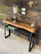 Load image into Gallery viewer, Industrial Console Table with Mesh Shelf