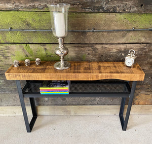 Industrial Console Table with Mesh Shelf