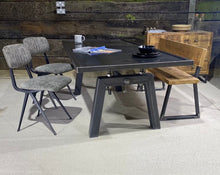 Load image into Gallery viewer, 'Foundry' Steel Topped Industrial Dining Table with Chunky Unique Leg Design