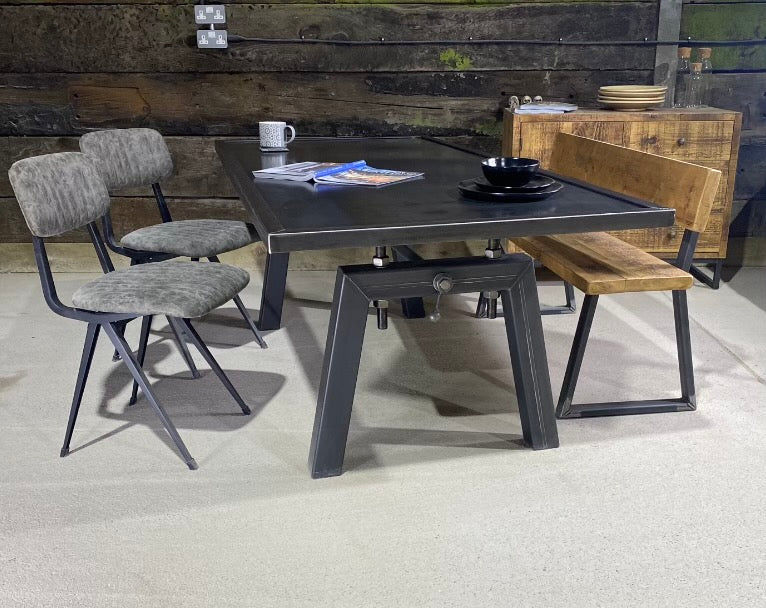 'Foundry' Steel Topped Industrial Dining Table with Chunky Unique Leg Design
