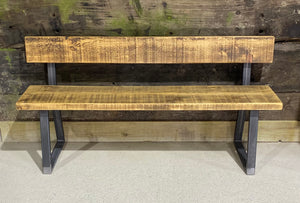 Contemporary Tri Base Bench with Back Rest