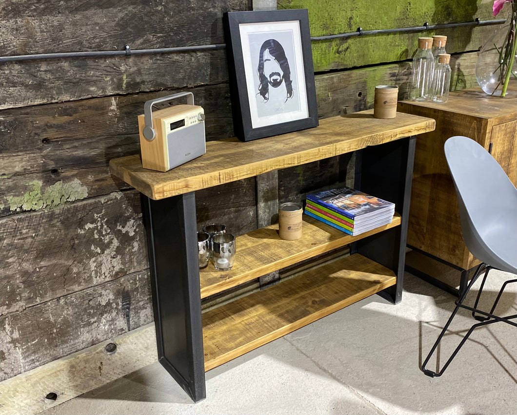 Industrial Console Table with Three Shelves