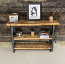 Load image into Gallery viewer, Industrial Console Table with Three Shelves