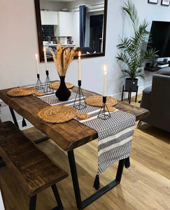 'V Base' Dining Table and Bench with 'Live Edge' Finish