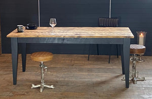 'Soho Farmhouse' Chamfered Leg Table With Industrial Reclaimed Timber Top