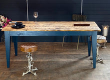 Load image into Gallery viewer, 'Soho Farmhouse' Chamfered Leg Table With Industrial Reclaimed Timber Top