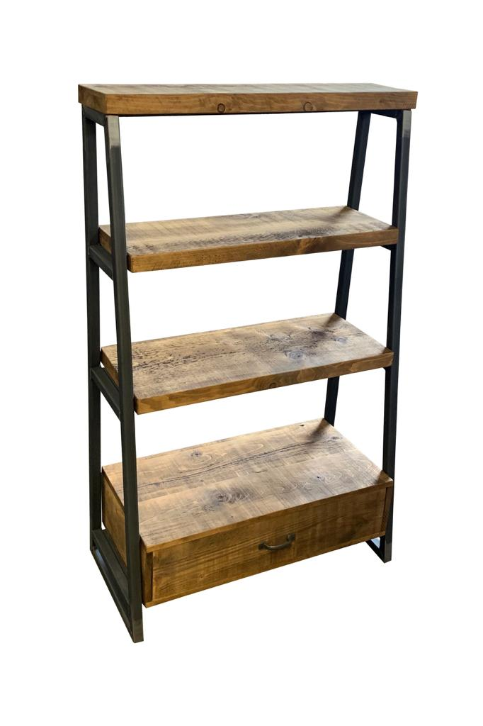 Rustic Lean To Shelving Unit With Bottom Drawer