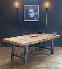 Load image into Gallery viewer, 'Monastery Trestle Table' Solid Reclaimed Wooden 80mm Top Plank Table