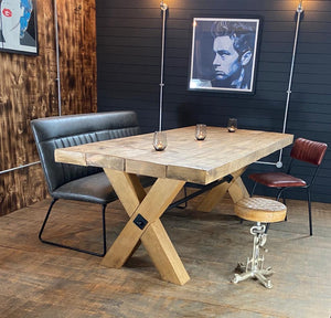 'Salvage X Frame' Solid Reclaimed Wooden 80mm Top Plank Table