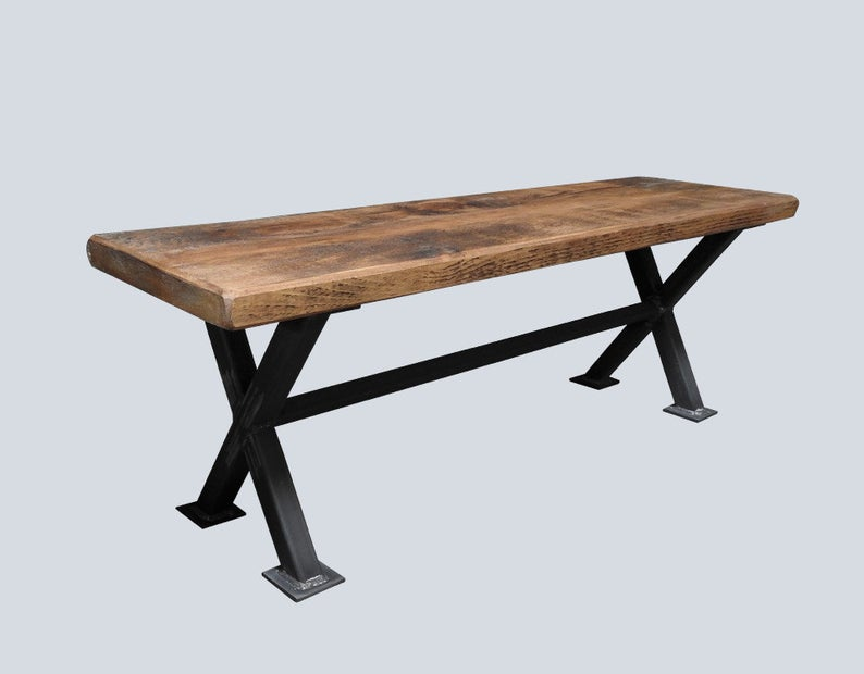Industrial Reclaimed Timber Bench with 'X-Frame' Base