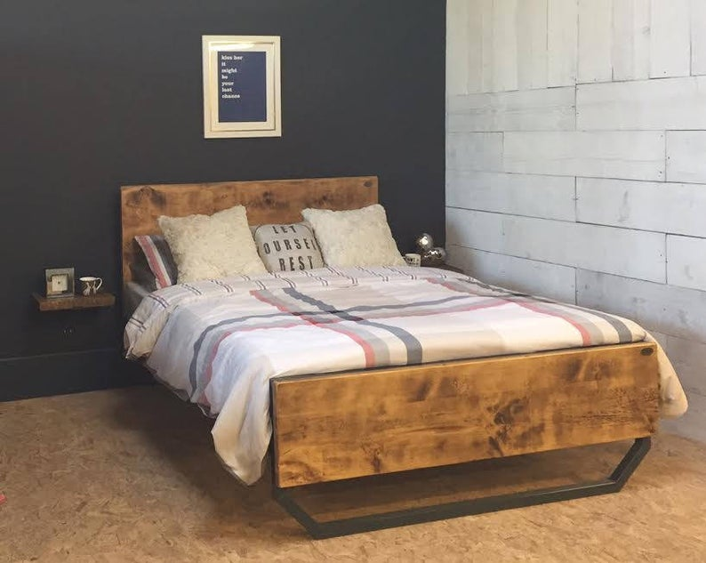 'Calia' Industrial Steel Framed Bed With Reclaimed Wood