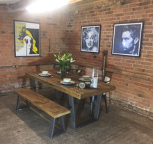 Load image into Gallery viewer, 'Richmond' Base Vintage Industrial Plank Top Dining Table (Thick 80mm Top)