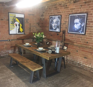 'Richmond' Base Vintage Industrial Plank Top Dining Table (Thick 80mm Top)