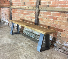 Load image into Gallery viewer, Industrial Reclaimed Rustic 'Bromley/Richmond' Bench (Chunky Legs)