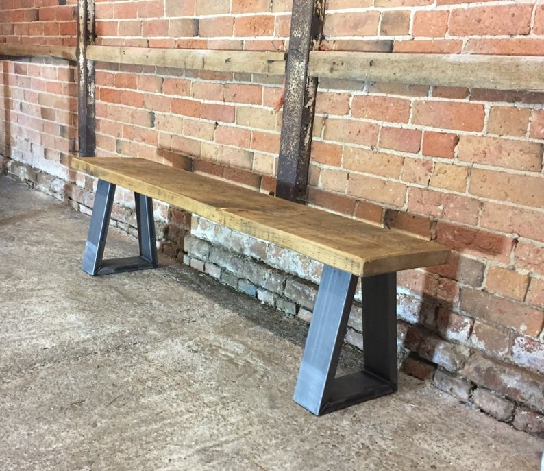 Industrial Reclaimed Rustic 'Bromley/Richmond' Bench (Chunky Legs)