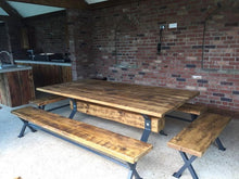 Load image into Gallery viewer, Industrial Reclaimed Timber Bench with 'X-Frame' Base