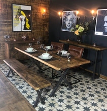 Load image into Gallery viewer, Industrial Reclaimed Plank Top Dining Table 'X-Frame' Steel Base