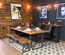 Load image into Gallery viewer, 'V Base' Vintage Plank Top Dining Table with V Shaped Steel Base