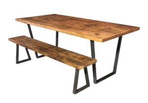 'V Base' Vintage Plank Top Dining Table with V Shaped Steel Base
