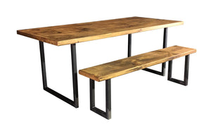 'U Base' Vintage Plank Top Dining Table with Steel Base