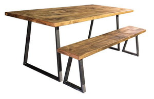 'Tri Base' Vintage Plank Top Dining Table with Triangle Steel Base