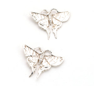sterling silver butterfly earrings. Artist carved elegant earrings