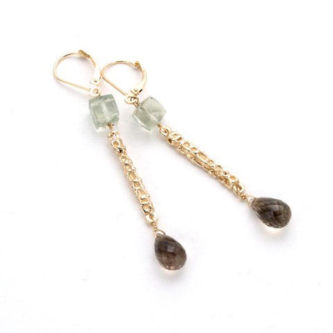 Hand carved long earrings, textured gold stick with green amethyst at top & faceted smoky quartz Drop