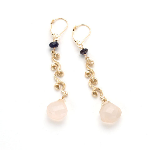 Swirling gold dangle earrings with iolite and faceted natural pink chalcedony.