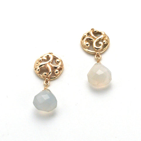 Beautiful Hand carved classic post earring, round sculptural button top with faceted teardrop chalcedony below