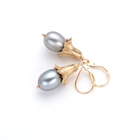 Sculpted gold, bell shaped flower earring on french lever-back with Dove gray pearl