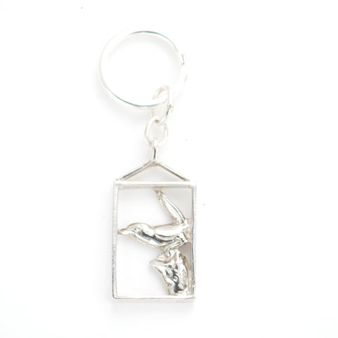 Fun & elegant Sterling Framed  Bird charm Keyring, hand carved by artist Anna Biggs, Delaware