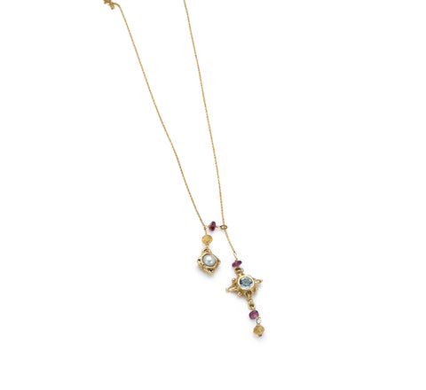 Delicate 14 karat gold little Atwood necklace, pearl, blue Topaz, handmade, artist anna biggs, Delaware