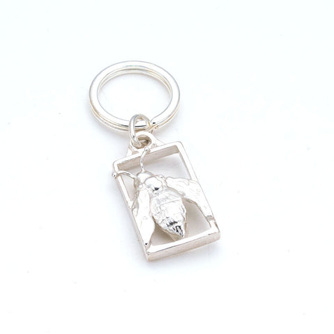 Fun & elegant Sterling Framed bee charm Keyring, hand carved by artist Anna Biggs, Delaware