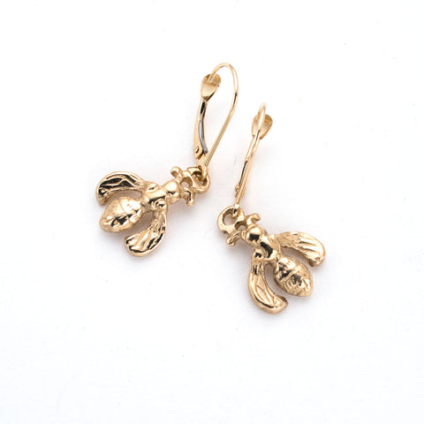 14 karat gold, little bee drop earrings, french lever-back ear wire