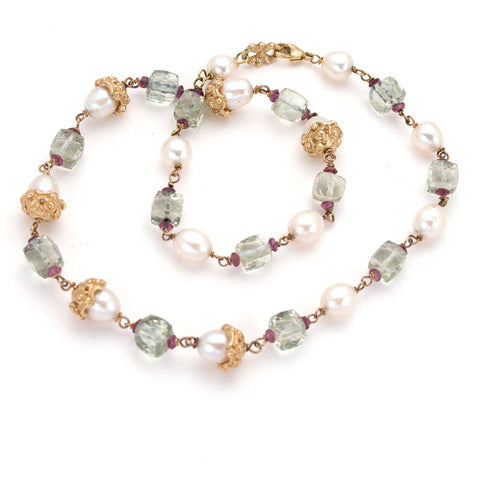 Classic Gold necklace, hand carved/hand made anna biggs necklace, pearl,green amethyst,garnet