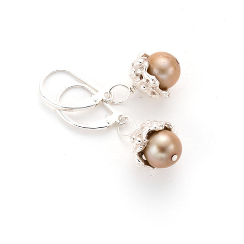 Classic drop, sterling silver, Pearl earring, artist made, handcarved, Lost wax,Anna biggs, Wilmington Delaware