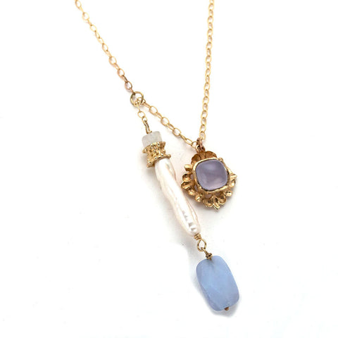 Delicate chain necklace, double pendant, long freshwater pearl with moonstone & blue chalcedony, gold square with chalcedony cabochon