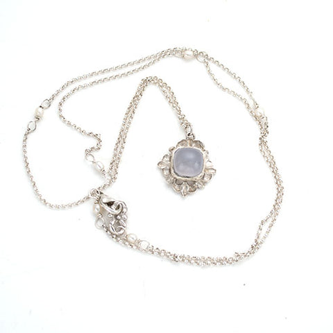 simply elegant, multi length necklace,blue chalcedony, sterling. handmade by anna biggs, delaware