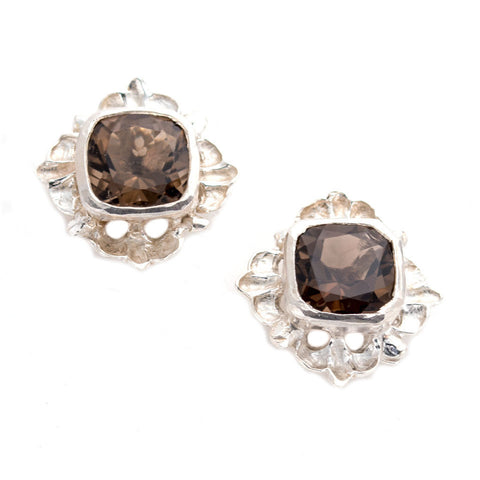 Bold beautiful sterling hand carved Atwood earrings,Smoky quartz, artist anna biggs, Delaware