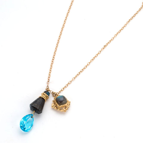 Delicate chain necklace, double pendant, labradorite with faceted sky blue topaz teardrop, gold square charm with labradorite cabochon