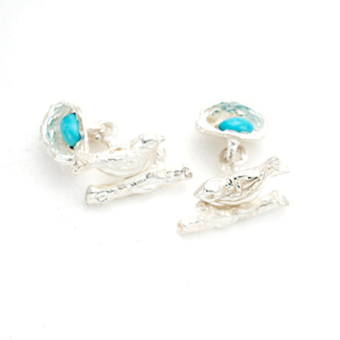 Lovely sterling silver bird & nest cufflinks.artist anna biggs, Delaware.Great Father's Day present